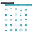 furniture and home decorations set of icons blue vector image