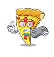 gamer pizza slice mascot cartoon vector image