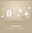 gift box icon on a brown background with elegant vector image