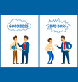 good and bad boss chief executive at work set vector image vector image