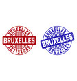 grunge bruxelles scratched round stamp seals vector image vector image