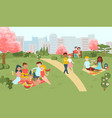 hanami sakura festival people on picnic in vector image vector image