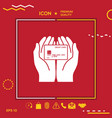 hands holding credit card - icon vector image vector image