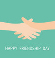 happy friendship day handshake icon two hands vector image vector image