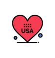 heart love american usa flat color icon icon vector image vector image