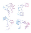 hip-hop dancer continuous line drawing set of vector image