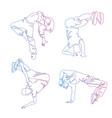 hip-hop dancer continuous line drawing set vector image