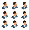 isometry of the head of the hairdo businessman vector image vector image