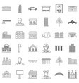 large city icons set outline style vector image