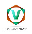 letter v symbol in the colorful hexagonal vector image vector image