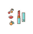 lipstick icon thin line art colorful design vector image vector image
