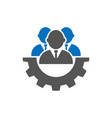men and cog icon people and gear sign flat style vector image