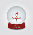 merry christmas snow globe with snowman on a cold vector image
