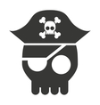 pirate skull isolated icon design vector image vector image