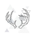 polygonal deer horns on minimalist vector image vector image