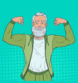 pop art mature senior man showing muscles vector image vector image