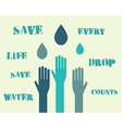 Save water poster concept with drops and hands vector image