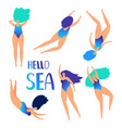 sea swimming women vector image