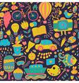 seamless pattern childish doodles Pattern set of vector image vector image