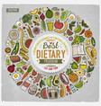 set cartoon doodle diet food objects vector image vector image