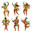 set of brazilian samba dancers rio de janeiro vector image