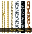 Set of chains Gold silver steel painted metal vector image