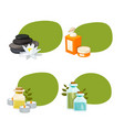 set stickers with cartoon beauty and spa vector image vector image