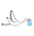 stork bird flying with bag vector image