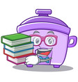 student with book rice cooker character cartoon vector image
