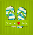 summer time card with flip flops vector image vector image