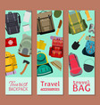 tourist camping backpack set banners travel vector image vector image