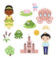 princess theme with castle frog prince carriage vector image
