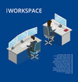 office workspace 3d isometric banner vector image