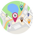 flat travel and tourism related symbol pins on map vector image