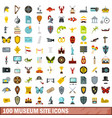 100 museum site icons set flat style vector image vector image