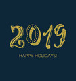 2019 golden glitter handwritten inscription vector image