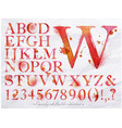 Alphabet watercolor red vector image vector image