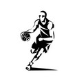 basketball player stylized silhouette logo vector image vector image
