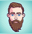 bearded hipster man vector image