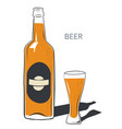 beer in bottle alcohol poured in glass vector image vector image