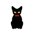 Black cat with red bow tie Silhouette of pet vector image vector image