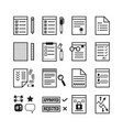 black line office paper documents stationery set vector image