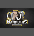cartoon emblem of mammoth vector image vector image