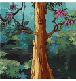 cartoon forest with big tree with pink leaves vector image vector image