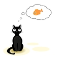 Cat dreaming about fish vector image vector image