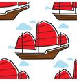 chinese seamless pattern sailboat or junk ship vector image vector image
