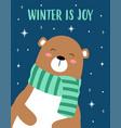 christmas card with cute bear vector image