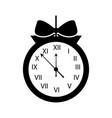 christmas clock frame bow ribbon decoration vector image vector image