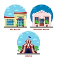 circus and spa salon wedding building exterior vector image vector image