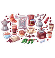 coffee cup and dessert poster vector image vector image